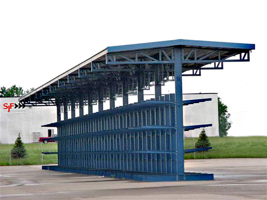 Cantilever Storage Rack System with a Supported Roof for storing weather sensitive items outdoors.