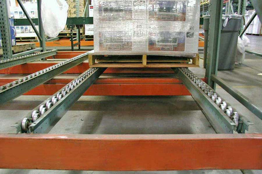 Dual Staggered Pallet Flow Rail with Steel Wheels