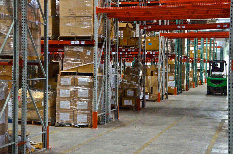 This is a full warehouse rack system with built-in rows to allow forklift access.